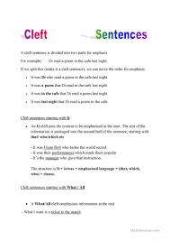 6 free esl cleft sentences worksheets