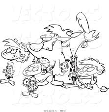 vector of a cartoon caveman family coloring page outline by