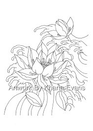 japanese lotus flower tattoo design pdf a4 printout colouring