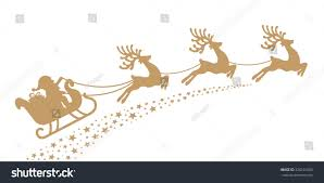 santa sleigh reindeer gold silhouette stock vector 320101583