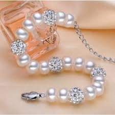 silver bracelet with pearls images Buy real natural freshwater pearl bracelet jpg