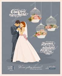 and groom card wedding vintage invitation card template vector with and