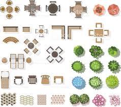 Floor Plan Furniture Clipart Trees Top View Furniture Floor For Landscape Vector Illustration