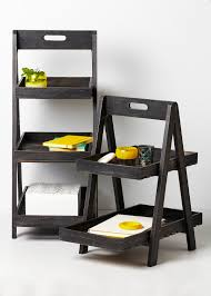 Leaning Ladder Bookcases by Fine Looking Dark Finished Wooden Ladder Shelf As Basket Storage