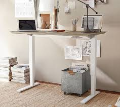 Sit Stand Office Desk Livingston Sit Stand Humanscale Desk Pottery Barn