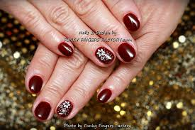 gelish burgundy nails with white gold flowers by www