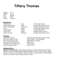 cosy musical audition resume sample for your musical theatre