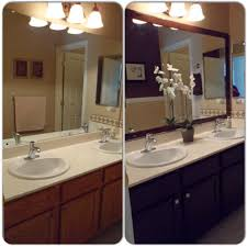 main bathroom remodel framed mirror with mdf trim then spray