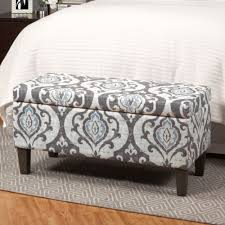 storage ottoman bench large gray grey fabric upholstered