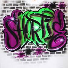 Name Style Design by Airbrush T Shirt Graffiti Style Name Bricks Background