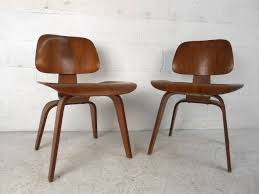 century plywood early pair of mid century modern dcw side chairs by ray and