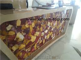 Luxury Reception Desk Multi Red Jasper Stone Reception Desk Semi Precious Stone Table