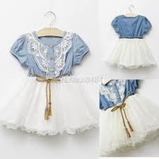 toddler kids short sleeve lace skirts denim top tutu party