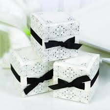 Favor Boxes by White And Black Favor Boxes With Black Ribbon Weave Cake