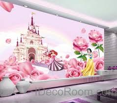 Disney Bedroom Wall Stickers 3d Disney Princess Castle Wallpaper Princess Ariel Snow White Wall