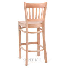 natural wood vertical back commercial bar stool with veneer seat