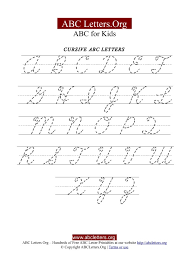 printable cursive letter tracing chart uppercase abc letters org