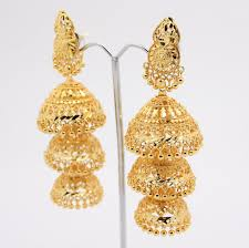gold earrings for marriage vintage indian drop dangle artificial gold chandelier