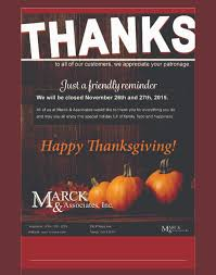 we will be closed on thanksgiving sign marck u0026 associates trade shows
