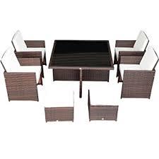 Patio Dining Table Set Amazon Com Outsunny 9 Piece Outdoor Pe Rattan Wicker Nesting