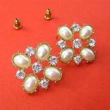 earrings for sale sale large square geometric pearl rhinestone stud earrings