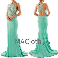 mermaid straps o neck floor length lace jersey mint prom dress