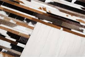 Cowhide Rug Patchwork Exotic Black Brown And White Patchwork Cowhide Rug Stripes Design