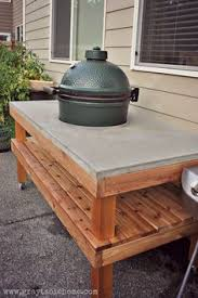 diy grill table plans big green egg concrete top table plans big green egg table green