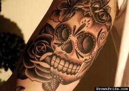 3d skull and day of dead on sleeve