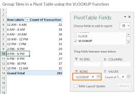 pivot tables and vlookups in excel 3 ways to group times in excel excel cus