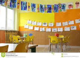 kindergarten classroom with drawings stock photo image 67609940