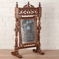 anglo indian solid teak dressing mirror on stand with ivory and