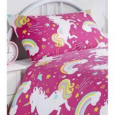 Double Duvet Cover Sets Uk Duvet Cover Set Children U0027s Girls Unicorn Rainbow Bedding Quilt