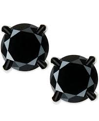 black stud earrings men s black diamond stud earrings in stainless steel 2 ct t w
