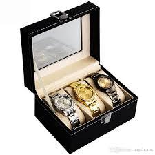 Fashion portable travel watch display case box 3 slot jewelry