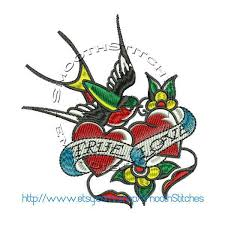 true love sparrow tattoo design for embroiderycorner