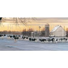 a place called home print rural holstein winter cow by