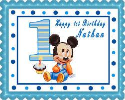 baby mickey mouse 1st birthday edible cake topper u0026 cupcake