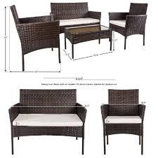 4 pc outdoor garden rattan patio furniture set cushioned seat