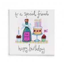handmade special friend birthday card with champagne and cake