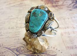 cuff bracelet with stone images Vintage sterling silver turquoise blossom leaf design cuff jpg