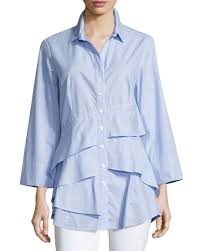 finley blouses finley striped chambray tiered ruffle blouse plus size