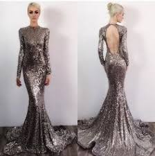 Long Sleeve Mermaid Prom Dress Rose Gold Prom Dresses Sequin Prom