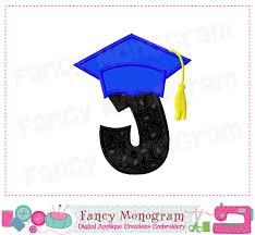 graduation cap monogram j applique letter j applique
