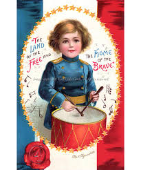 patriotic drummer boy fourth of july greeting card repro