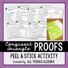 Cpctc Worksheet Answers Congruent Triangle Proofs Peel And Stick Activity Geometry