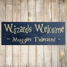 harry potter sign wizards muggles wood sign harry potter