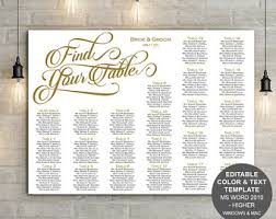 Wedding Poster Template Wedding Seating Chart Template Printable Seating Chart
