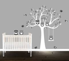 Nursery Owl Wall Decals Black And Grey Owl Wall Decals Nursery Tree Patterns