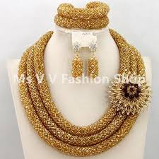 gold wedding necklace set images 2018 indian jewelry set 3 layers gold nigerian wedding african jpg